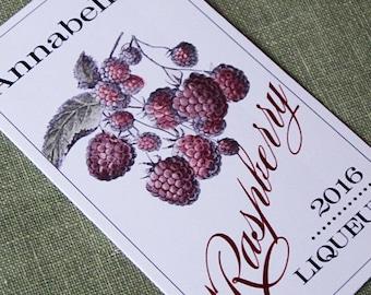 Raspberry Liqueur, Framboise, Labels Personalized, set of 18