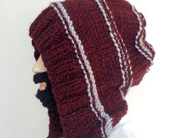 hand knitted claret red hat.