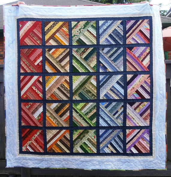 Hand Quilted Lap or Throw Quilt Rainbow of Colors