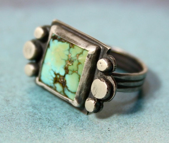 SALE// Clarity Ring in Natural Turquoise and Sterling Silver (ready to ship in size 7)