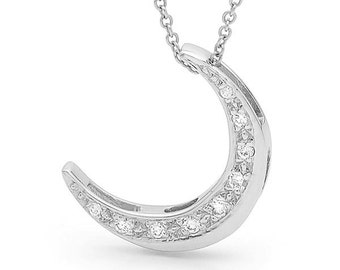 Diamond crescent moon Necklace, White Gold and Diamond Moon Pendant, gold diamond moon necklace