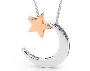 Rose Gold and Silver Crescent Moon and Star Necklace, silver and rose gold pendants, Star and moon necklace