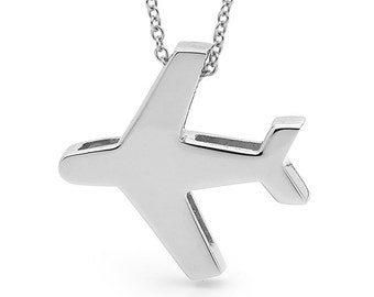 White Gold Airplane Necklace, White Gold Aeroplane Pendant on a 9ct White Gold fine Cable Chain, Jet Necklace