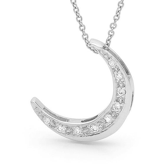 Diamond crescent moon Necklace White Gold and Diamond Moon