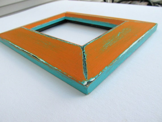 Distressed orange frame - 5x3.5 inch tangerine orange and aqua, handpainted wood frame