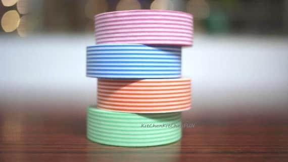 Japanese Washi Tape Masking Tape - 4 rolls set - Assorted Strip Pattern pink, blue, peach, baby green