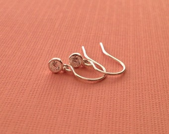 Tiny Crystal Sterling Silver Earrings -Tiny Crystal Earrings in Sterling Silver