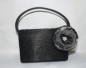Convertible Clutch Upcycled Black Satin Beaded and Flower Formal Evening Purse