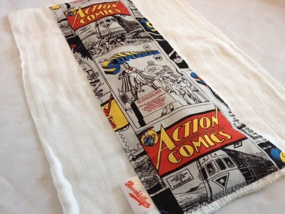 Superman Comics White Burp Cloth