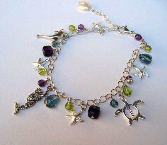 Mermaid charm bracelet sterling silver gemstones turtle starfish dolphin amethyst London blue topaz