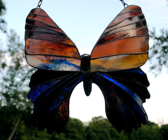 Rich Sunset Hued Madagascan Sunset Moth Stained Glass Suncatcher Window Hanging