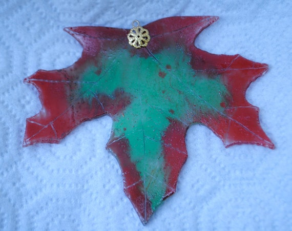 Everlasting Autumn Russet and Green Maple Leaf Stained Glass Windowhanging Suncatcher