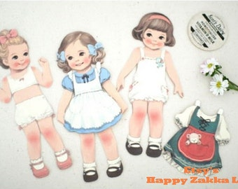 Paper Doll Card Set - 3 Doll Cards, 3 Dress Cards, 3 Toy Cards, 3 Postcards and 3 Envelopes - 15 Sheets