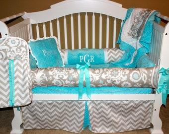 Custom crib bedding- Peyton set 6 PC set chevron, tiffany colored minky fabric