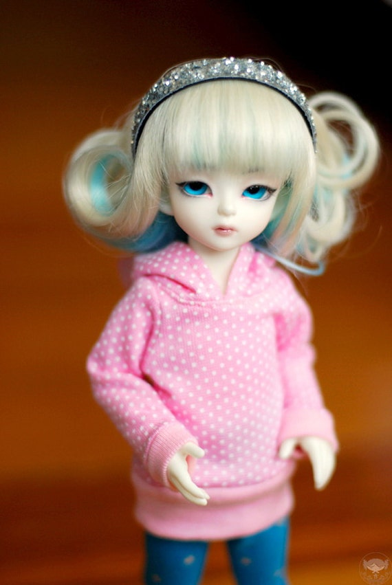 YoSD Pink And White Polka Dot Hoodie For BJD - Last One