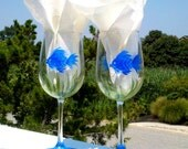 Blue Fish hand painted wine glasses.