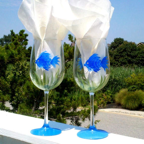 Blue fish hand painted wine glasses by glassesbyjoanne on for Painted glass fish