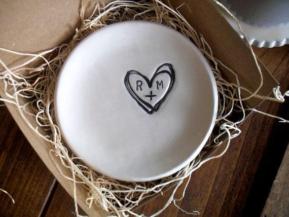 wedding ring dish,  ring holder, engagement, custom monogram initial tray,  Black and White,  Made to Order
