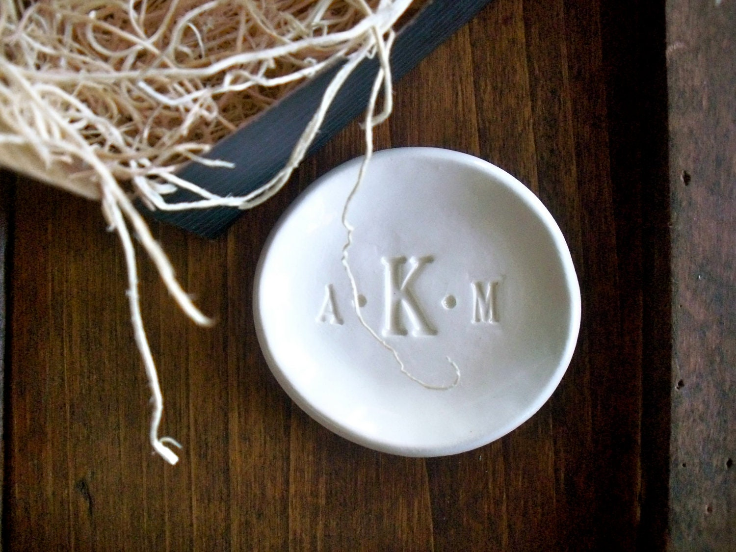 ring dish monogram ring holder jewelry dish by promisepottery