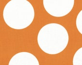Orange and White Large Polka Dot Patterned Fabric - Half Moon Modern by Moda 1 Yard