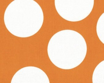 Orange and White Large Polka Dot Patterned Fabric - Half Moon Modern by Moda 1/2 Yard