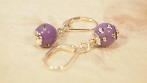 Purple Acrylic Beads, Silver Tone Dangling Beaded Pierced Earrings.  CKDesigns.us