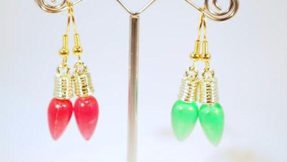 Christmas earrings, 2 Pair Of Christmas Light Bulb Pierced Earrings.  CKDesigns.us