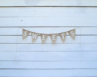 Sweets glittered burlap banner bunting