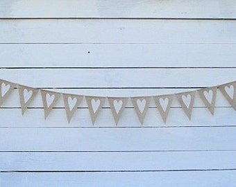 Hearts Banner, Burlap Wedding Bunting Banner, White Hearts