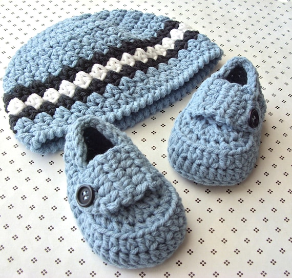 Baby Boy Set - Loafer Booties - Blue Beanie Striped Hat - Modern Crocheted Shower Set - Infant Cap 3 to 6 Months - Size 2 Shoes