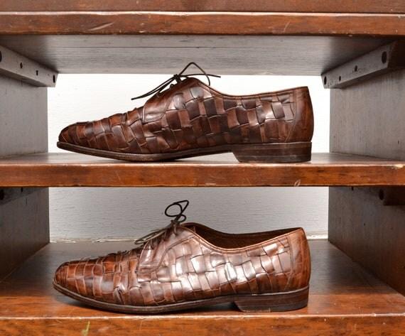 Unique Vintage Woven Leather Dress Shoes, Bregano by Cole Haan, Mens 9 1/2