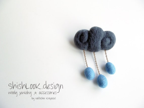 Rain Cloud, Hand Felted Brooch, Weather Jewelry, Wool Accessories, Dark Grey & Pale Blue
