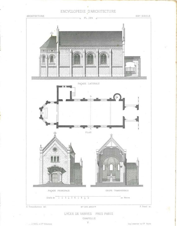 1873  Large Architectural Print France  Church Floor Plan Facade Cross Section Black and White Religious Architecture