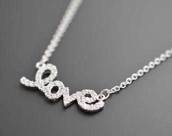 SALE, Modern necklace, CZ necklace, LOVE charm necklace, Delicate necklace, Silver necklace,Cubic necklace,Christmas gift,Love necklace,Gift