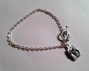 Charm Bracelet Flip Flops Jewelry Silver Children Jewellery Summer Fun