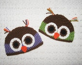 """Brown and Purple or Green Owl Hat NB, 0-3, 3-6  Months  Baby Shower Gift, Infant, Perfect Photo Prop """"Owl always love you"""""""