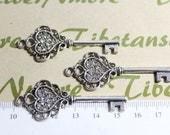 4 pcs per pack 55mm Skeleton Rhinestone Key Charm Antique Silver Finish Lead Free Pewter