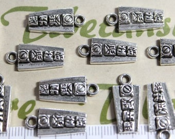 12 pcs per pack 16x8mm Mayan Glyph Charm Antique Silver Finish Lead Free Pewter