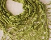 Summer green crochet shawl scarf pareo