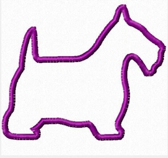 Scottie Dog Machine Embroidery Applique Design - 4 Sizes