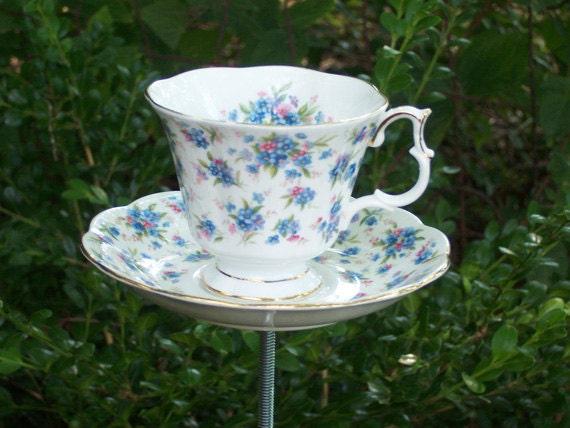 Tea Cup Yard Art Garden Decor - Mini Pink & Blue Flowers with Gold Trim