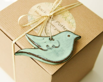 Bird Ornament - Aqua Mist - Handmade One of a Kind Gift