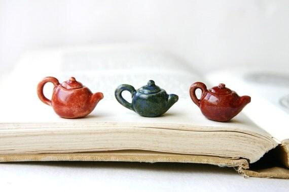 Miniature Tea Pot - Ceramic Charm Pendant - Rustic Red - Tiny Doll House - Ready to Ship