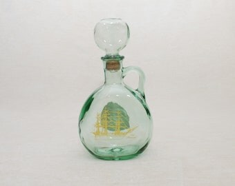 Glass Decanter: Old Ironsides - Glass Stopper, Nautical Gift, Glass Bottle, Navy Ship, Historic Ship, Gift for Him, Unique Bottle