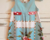 Upcycled Vintage Rose Floral Pleated Girl Tablecloth Dress Size 5 Turquoise Blue
