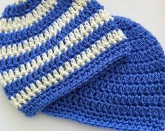 Medium Blue and Cream Prep Set, Crochet Baby Hats, Newborn Beanies, Blue Hat, Medium Blue and Cream Stripe Baby Hat, Crochet Baby Beanies