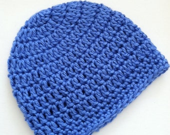 Medium Blue Gumdrop Beanie, Crochet Baby Hat, Newborn Hat, Baby Hat, Crochet Baby Beanie, Photo Prop