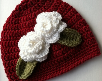 Christmas Crochet Baby Hat with Flowers, Red Crochet Baby Hat, Newborn Hat, Baby Hat, Red Baby Hat, Baby Girl Hat, Christmas Hat