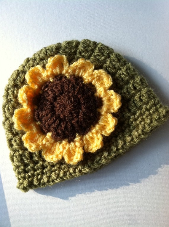 Sunflower Hat, Crochet Hat with Flower,  Green Hat, Autumn Baby Hat, Newborn Hat, Little Girl Hat, Child Hat, Autumn Hat, Halloween