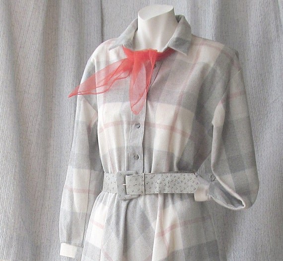 Vintage Dress Wool Blend Plaid Cream Gray Blue and Pink with a Retro Red Nylon Scarf
